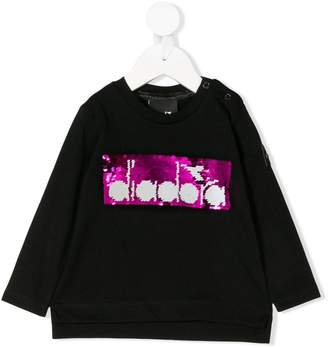 Diadora Junior sequin embroidered logo T-shirt