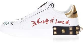 Dolce & Gabbana White Leather Portofino Sneakers