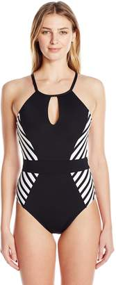 LaBlanca La Blanca Women's High Neck Front Keyhole One Piece Swimsuit, Black/White/Mime Games Print