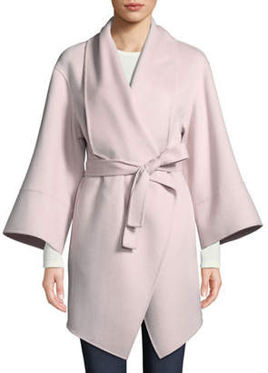Neiman Marcus Luxury Double-Faced Cashmere Wrap Coat