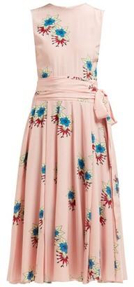 Rochas Floral Printed Silk Crepe De Chine Midi Dress - Womens - Pink Multi