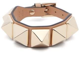 Valentino Large Rockstud Leather Bracelet - Womens - Camel