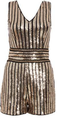 Quiz TOWIE Black and Gold Sequin Stripe Playsuit