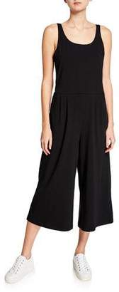 Eileen Fisher Plus Size Wide-Leg Cotton Stretch Jersey Jumpsuit