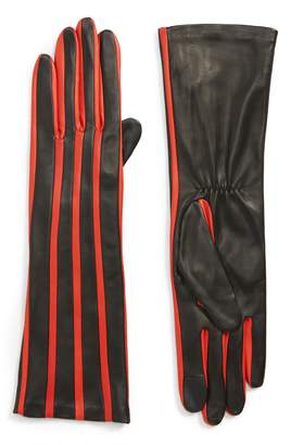 Agnelle Stripe Lambskin Leather Gloves