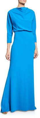 Badgley Mischka Cowl-Neck 3/4-Sleeve Dolman Gown