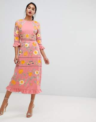 Asos Design DESIGN embroidered midi dress with frill cuff and sleeves