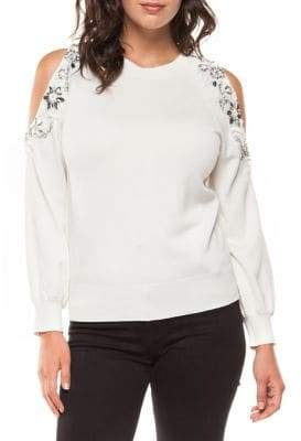 Dex Cold-Shoulder Embellished Sweater