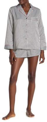 Jonquil In Bloom by Striped Long Sleeve Satin Shirt & Shorts Pajama 2-Piece Set