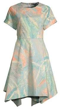Donna Karan Printed Crewneck Fit-&-Flare Dress