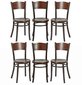 Rejuvenation Set of 6 Embossed 'Crocodile' Chairs by Thonet