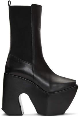 Marques Almeida Black Open Toe Platform Boots
