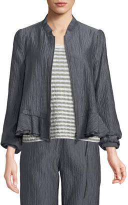 Emporio Armani Crinkle-Cotton Zip-Front Peplum Jacket