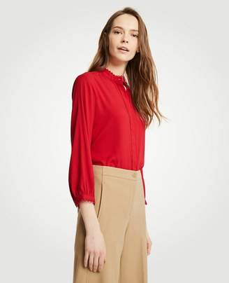 Ann Taylor Scallop Trim Blouse