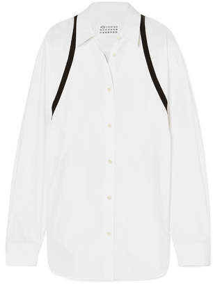 Maison Margiela Grosgrain-trimmed Cotton-poplin Shirt - White