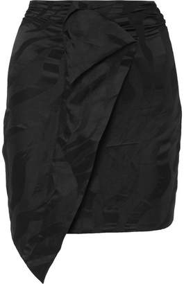 Carmen March - Wrap-effect Linen-blend Jacquard Mini Skirt - Black