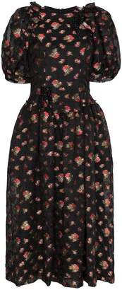 Simone Rocha Puff Sleeve Floral Embroidered Dress