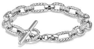 David Yurman Cushion Link Bracelet With Diamonds