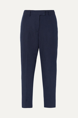 A.P.C. Cece Cropped Pinstriped Cotton And Linen-blend Twill Slim-leg Pants - Navy