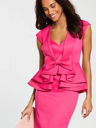 37e4d04db88706 Very Peplum Bow Pencil Dress - Pink