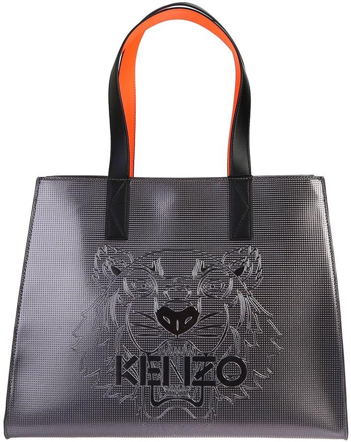 KenzoSilver Leather Tiger Tote Bag