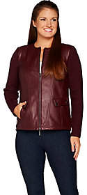 Linea by Louis Dell'Olio Lamb Leather Jacket w/Knit Sleeves