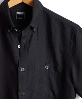 Todd Snyder Short Sleeve Linen Button Down Shirt in Black