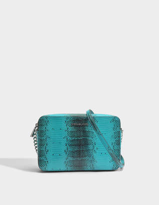 MICHAEL Michael Kors Large East-West Crossbody Bag in Tile Blue Python Embossed Calfskin