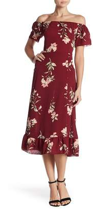 Velvet Torch Flutter Sleeve Floral Midi Dress