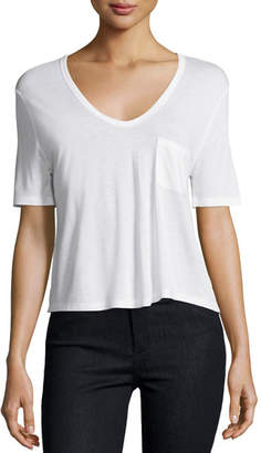 Alexander Wang Classic Cropped Tee w/ Pocket, White