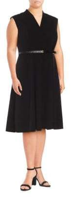 Calvin Klein Belted Fit-&-Flare Dress