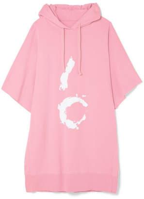 MM6 MAISON MARGIELA Hooded Printed Cotton-jersey Mini Dress - Baby pink