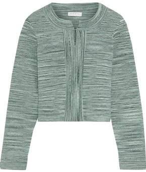 Sandro Melange Pointelle-knit Cardigan