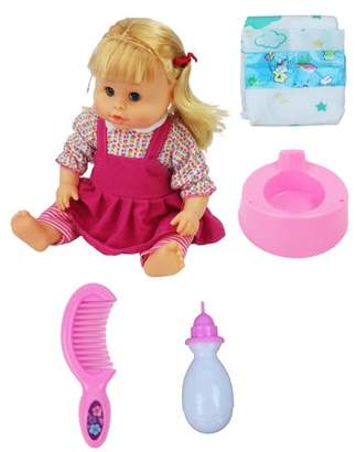 "Velocity Toys 16"" Long Battery Operated Toy Baby Girl Doll with Accessories and Peeing Action! Makes Baby Sounds and Says Baby Phrases!"