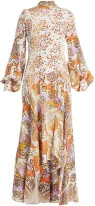 Peter Pilotto Floral-print balloon-sleeve silk dress