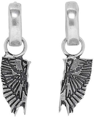 Marcelo Burlon County of Milan Silver Wings Pendant Hoop Earrings