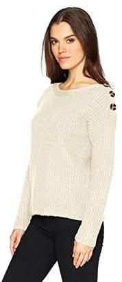 Kensie Women's Punk Yarn Sweater with Button Detail