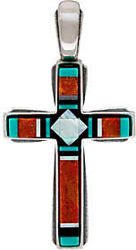 American West Sterling Silver Gemstone Inlay Cross Enhancer by American West