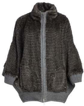 The Fur Salon Mink& Rabbit Fur Reversible Cape Coat