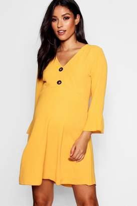 boohoo Maternity Horn Button Frill Dress