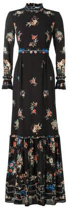 Vilshenko Floor-Length Printed Silk Dress