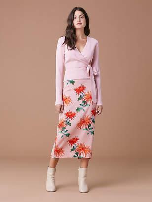 Diane von Furstenberg Long-Sleeve Knit Wrap Top
