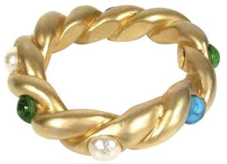 Chanel Gold Tone Simulated Glass Pearl Glass Gripoix Green and Blue CC Stone Vintage Bracelet