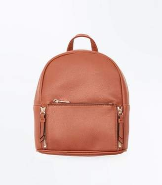 New Look Tan Zip Top Curved Mini Backpack