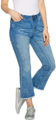 Peace Love World Cropped Jeans w/ Star Pattern Distressing
