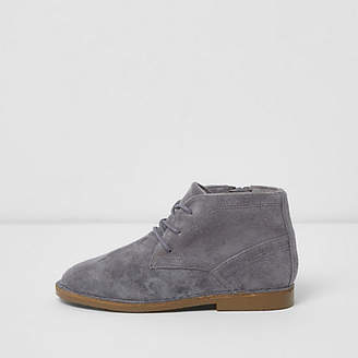 River Island Boys grey faux suede desert boots