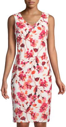 Iconic American Designer Floral-Print Sheath Dress