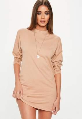 Missguided Nude Long Sleeve Plain T Shirt Dress, Nude
