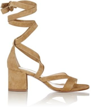 Barneys New York Women's Virginia Ankle-Wrap Sandals-NUDE $325 thestylecure.com