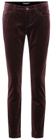 Velvet cropped skinny jeans